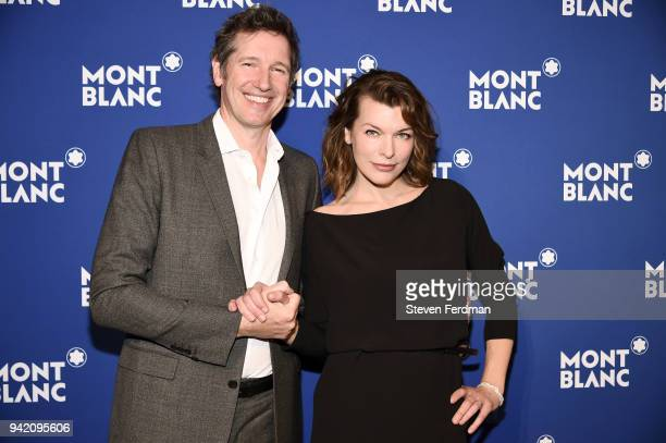 Paul W S Anderson and Milla Jovovich attend Montblanc Celebrates Le Petit Prince at the One World Trade Center Observatory on April 4 2018 in New...