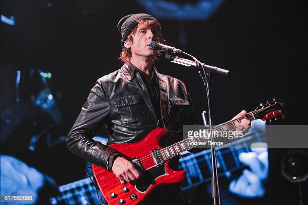 Paul WaaktaarSavoy of Aha performs on stage at Manchester Arena on March 25 2016 in Manchester England