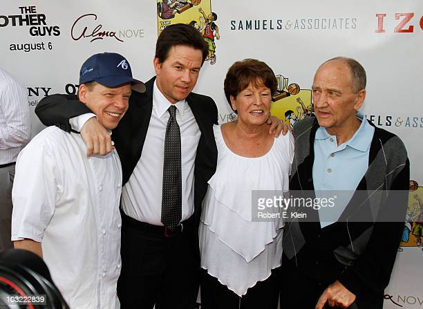 Paul Wahlberg Mark Wahlberg Alma Wahlberg and Arthur Donnolly attend a screening of 'The Other Guys' at Alma Nove on August 3 2010 in Hingham...
