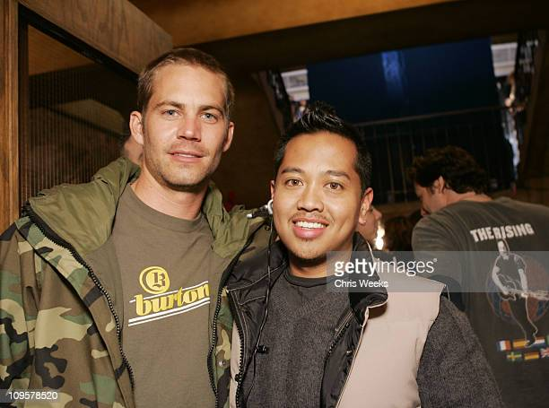 Paul Walker and Rembrandt Flores during 2005 Park City ICM Cocktails and Dinner Party at Chef Dance in Park City Utah United States