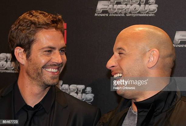 Paul Walker and Vin Diesael arrive for the Europe premiere of Fast & Furious on March 17, 2009 in Bochum, Germany.