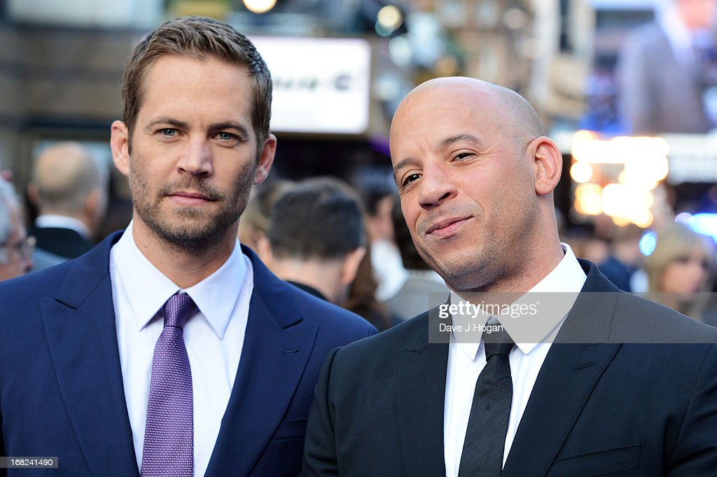 Paul Walker and Vin Diesel attend the world premiere of 'Fast And Furious 6' at The Empire Leicester Square on May 7, 2013 in London, England.