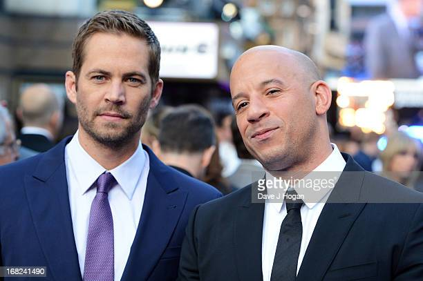 Paul Walker and Vin Diesel attend the world premiere of 'Fast And Furious 6' at The Empire Leicester Square on May 7 2013 in London England