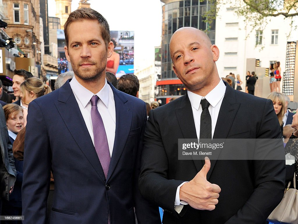 Paul Walker (L) and Vin Diesel attend the World Premiere of 'Fast & Furious 6' at Empire Leicester Square on May 7, 2013 in London, England.