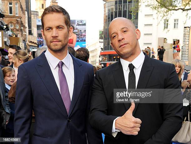 Paul Walker and Vin Diesel attend the World Premiere of 'Fast & Furious 6' at Empire Leicester Square on May 7, 2013 in London, England.