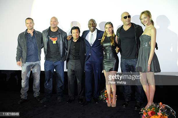 Paul Walker Dwayne Johnson Justin Lin Tyrese Gibson Elsa Pataky Vin Diesel and Gal Godot pose at the 'Fast Furious 5' Germany Premiere on April 27...