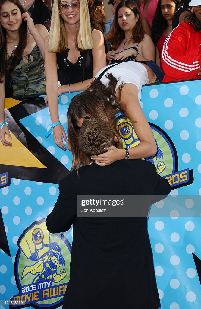 Paul Walker & fan kissing *Call for pricing* during 2003 MTV Movie Awards - Arrivals at The Shrine Auditorium in Los Angeles, California, United States.