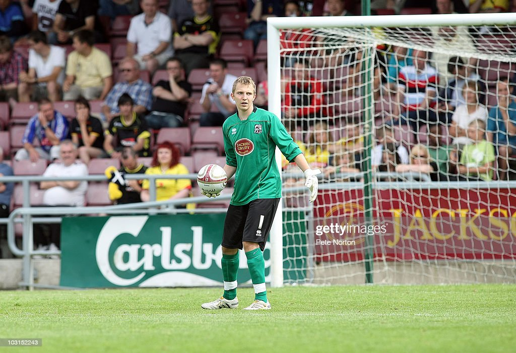 Paul Walker of Northampton Townin action during the pre season match between Northampton Town and Watford at Sixfields Stadium on July 24, 2010 in Northampton, England.