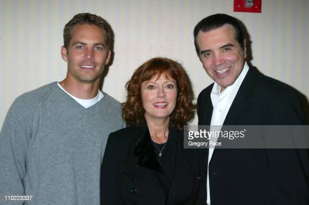 Paul Walker Susan Sarandon and Chazz Palminteri director of the film