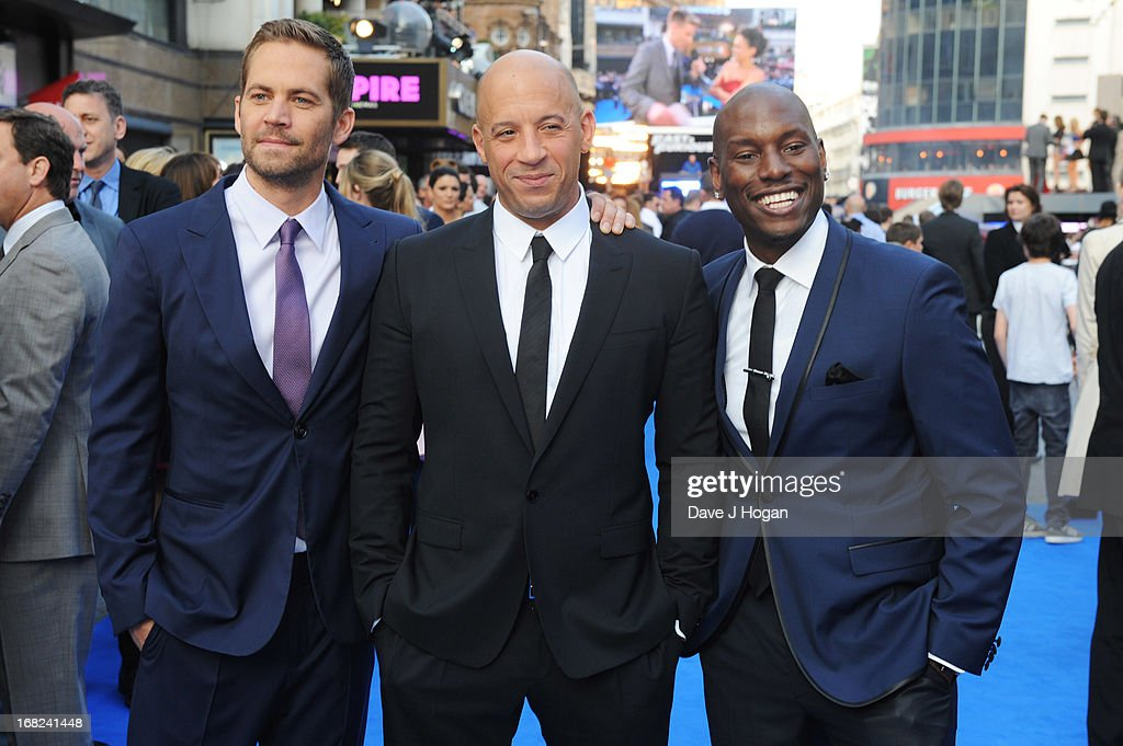 Paul Walker, Vin Diesel and Tyrese Gibson attend the world premiere of 'Fast And Furious 6' at The Empire Leicester Square on May 7, 2013 in London, England.