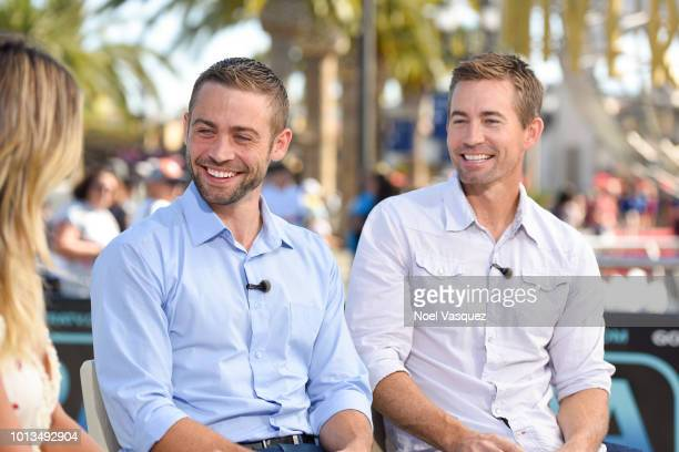 Paul Walker's brothers Cody and Caleb Walker visit Extra at Universal Studios Hollywood on August 8 2018 in Universal City California