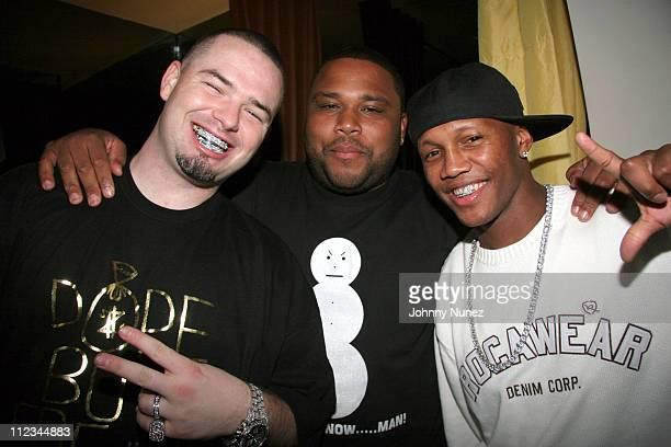 Paul Wall Anthony Anderson and Zab Judah during Kevin Liles PostVibe Awards Dinner Hosted by Mary J Blige at Eurochows in Los Angeles California...
