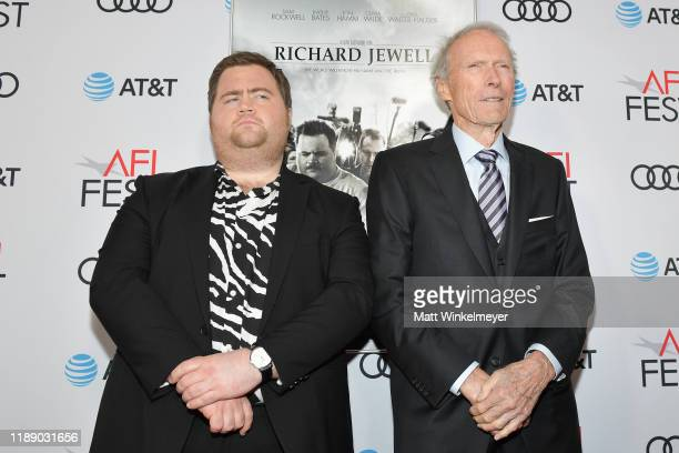 Paul Walter Hauser and Clint Eastwood attend the Richard Jewell premiere during AFI FEST 2019 Presented By Audi at TCL Chinese Theatre on November 20...