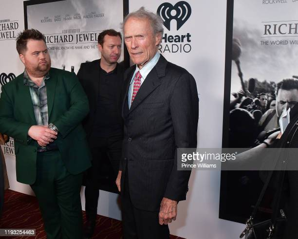 """Paul Walter Hauser and Clint Eastwood attend the """"Richard Jewell"""" Atlanta Screening at Rialto Center of the Arts on December 10, 2019 in Atlanta,..."""