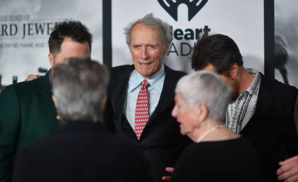 Paul Walter Hauser Clint Eastwood Barbara Bobi Jewell and Sam Rockwell attend the Richard Jewell Atlanta Screening at Rialto Center of the Arts on...