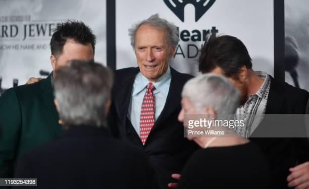 "Paul Walter Hauser, Clint Eastwood, Barbara ""Bobi"" Jewell and Sam Rockwell attend the ""Richard Jewell"" Atlanta Screening at Rialto Center of the Arts..."