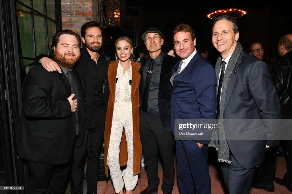 Paul Walter Hauser, Sebastian Stan, Margot Robbie, director Craig Gillespie, screenwriter Steven Rogers, and NEON founder/CEO Tom Quinn attend the 'I, Tonya' New York premiere after party on November 28, 2017 in New York City.