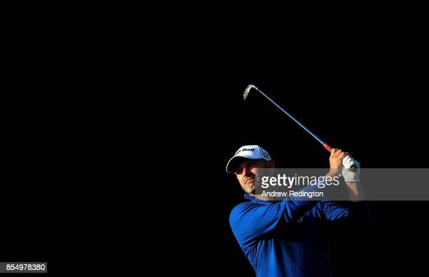 Paul Waring of England hits his second shot on the 14th hole during day one of the British Masters at Close House Golf Club on September 28 2017 in...