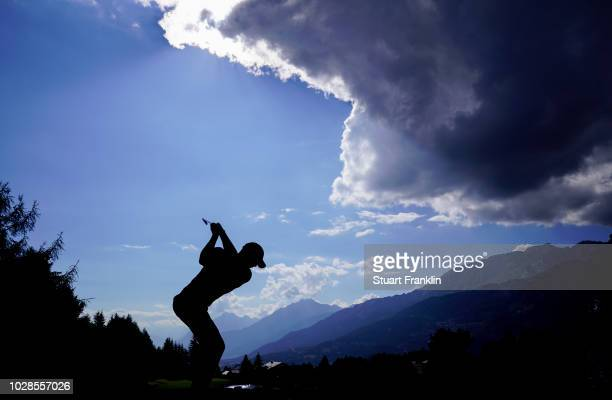 Paul Waring of England plays a shot during the second round of the Omega European Masters at CranssurSierre Golf Club on September 7 2018 in...