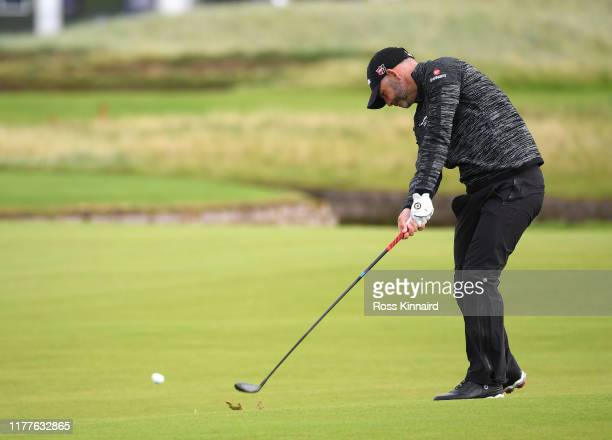Paul Waring of England plays their second shot on the 17th hole during Day three of the Alfred Dunhill Links Championship at Carnoustie Golf Links on...