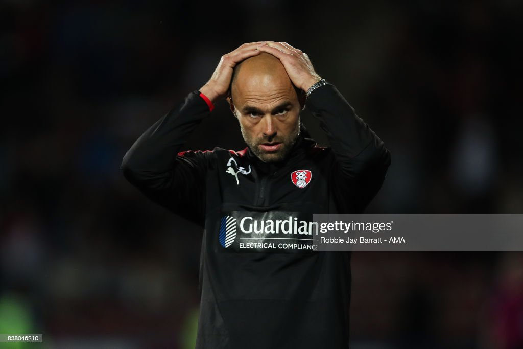 Paul Warne manager / head coach of Rotherham United reacts during the Carabao Cup Second Round match between Huddersfield Town and Rotherham United at The John Smiths Stadium on August 23, 2017 in Huddersfield, England.