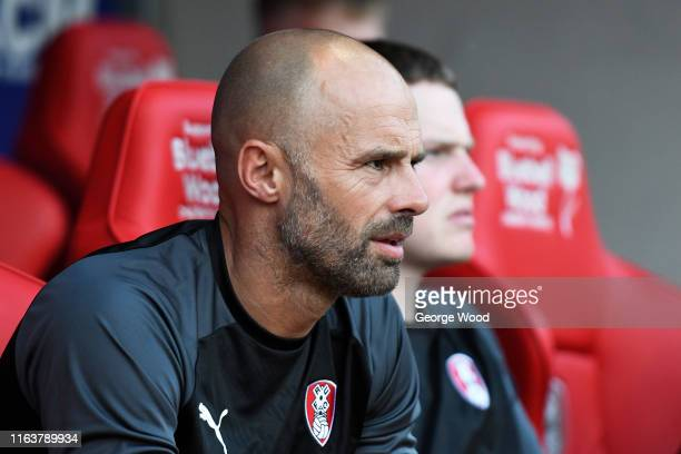 Paul Warne manager of Rotherham United looks on during the PreSeason Friendly between Rotherham United and West Bromwich Albion at AESSEAL New York...