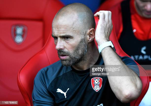 Paul Warne manager of Rotherham United reacts during the PreSeason Friendly between Rotherham United and West Bromwich Albion at AESSEAL New York...