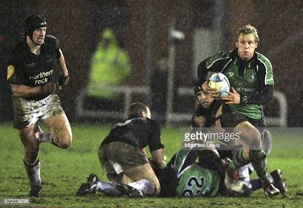 Paul Warwick of Connacht makes a break during the European Challenge Cup Quarter Final match between Newcastle Falcons and Connacht at Kingston Park...