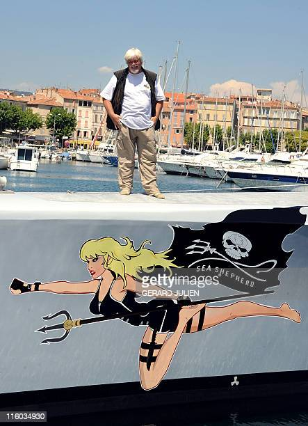 Paul Watson Canadian founder and president of the Sea Shepherd Conservation Society a direct action group devoted to marine conservation poses on May...