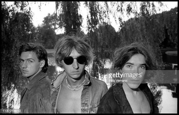 Paul Webb Mark Hollis and Lee Harris of Talk Talk group portrait Vondelpark Amsterdam Netherlands 30th August 1984