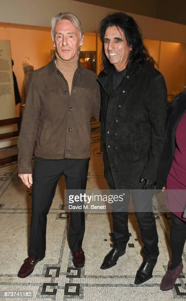 Paul Weller and Alice Cooper attend the unveiling of 'The Adoration Trilogy Searching For Apollo' by Alistair Morrison hosted by Roger Daltrey to...