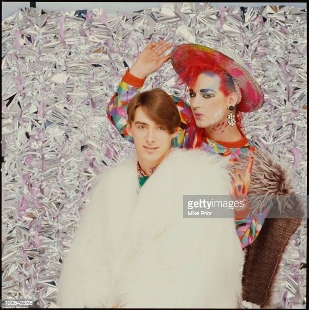Paul Weller from the Style Council posed with Boy George from Culture Club in London in 1984
