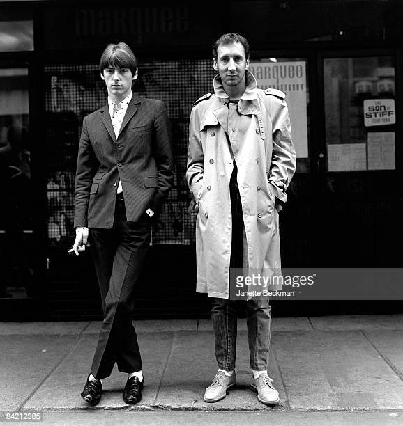 Paul Weller modfather and cofounder of 'The Jam' stands next to a fellow British rock icon Pete Townshend guitarist for 'The Who' in the Soho...