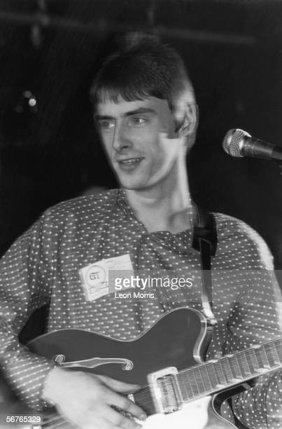 Paul Weller of The Jam in concert at the ICA in London 5th January 1983 He is wearing a Wah badge