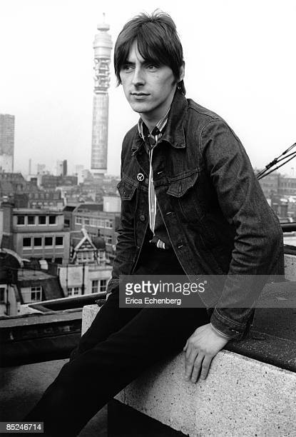 Paul Weller of The Jam poses for portraits on the roof of AIR studios on Oxford Circus during recording sessions for their album The Gift London...