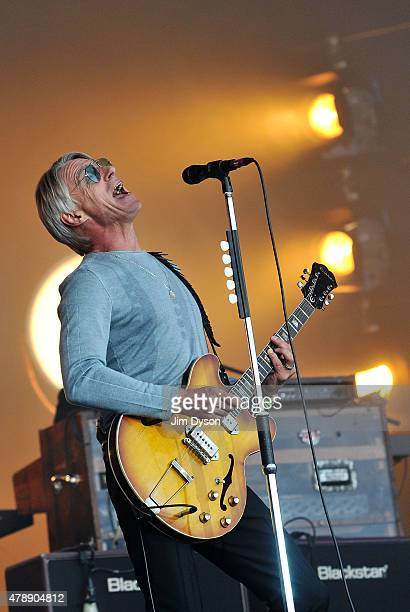 Paul Weller performs live on the Pyramid stage during the third day of Glastonbury Festival at Worthy Farm Pilton on June 28 2015 in Glastonbury...