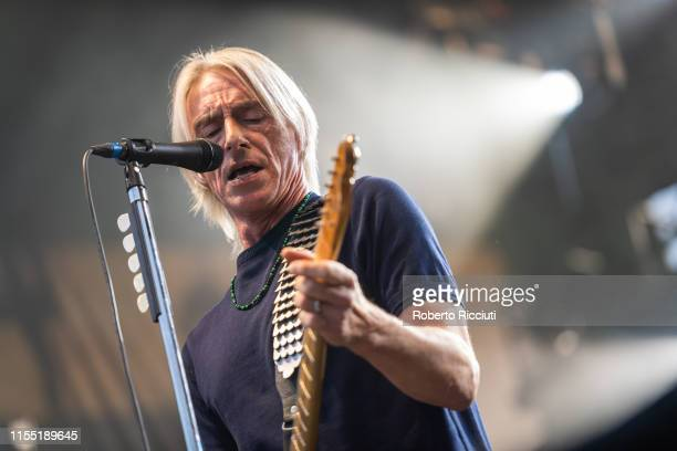 Paul Weller performs on stage at Edinburgh Castle on July 11, 2019 in Edinburgh, Scotland.