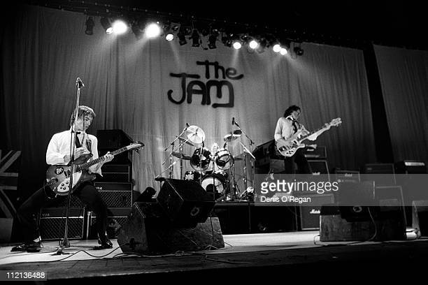 Paul Weller, Rick Buckler and Bruce Foxton of the Jam in concert, 7th December 1977.