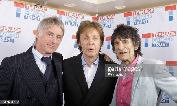 Paul Weller Sir Paul McCartney and Ronnie Wood backstage at a Teenage Cancer Trust gig at the Royal Albert Hall London