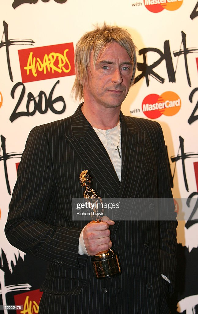Paul Weller with his Brit Award for Lifetime Acheivement at the Earls Court in London, United Kingdom.