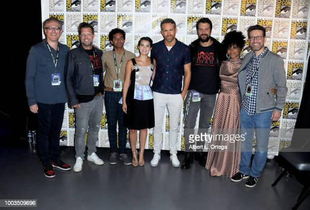 Paul Wernick David Leitch Karan Soni Brianna Hildebrand Ryan Reynolds Stefan Kapicic Zazie Beetz and Rhett Reese pose at the Deadpool 2 panel during...