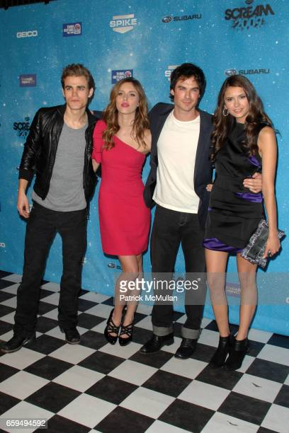 Paul Wesley Kayla Ewell Ian Somerhalder and Nina Dobrev attend SPIKE TV'S 'SCREAM 2009' at The Geek Theatre on October 17 2009 in Los Angeles CA