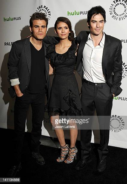 """Paul Wesley, Nina Dobrev and Ian Somerhalder attend """"The Vampire Diaries"""" event at PaleyFest 2012 at Saban Theatre on March 10, 2012 in Beverly..."""