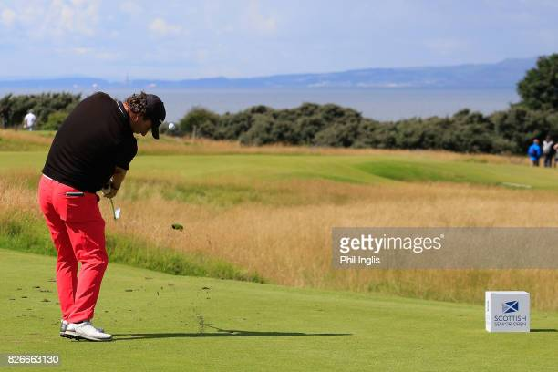Paul Wesselingh of England in action during the second round of the Scottish Senior Open at The Renaissance Club on August 5 2017 in North Berwick...