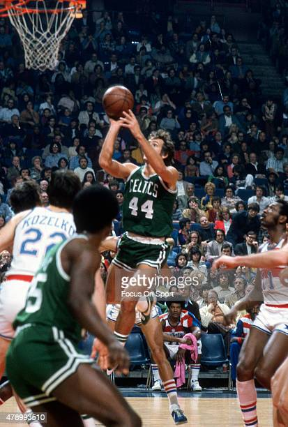 Paul Westphal of the Boston Celtics shoots against the Baltimore Bullets during an NBA basketball game circa 1972 at the Baltimore Civic Center in...