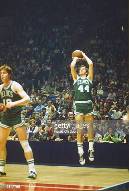 Paul Westphal of the Boston Celtics shoots against the Washington Bullets during an NBA basketball game circa 1975 at the Capital Centre in Landover...