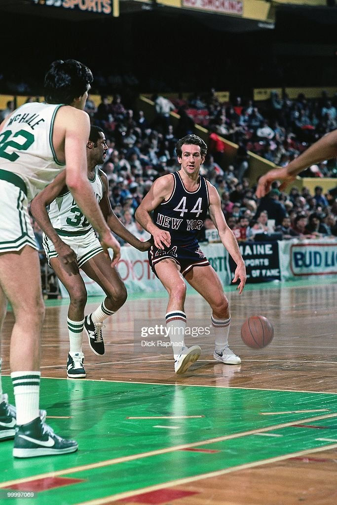 Paul Westphal #44 of the New York Knicks drives the ball up court against the Boston Celtics during a game played in 1983 at the Boston Garden in Boston, Massachusetts.