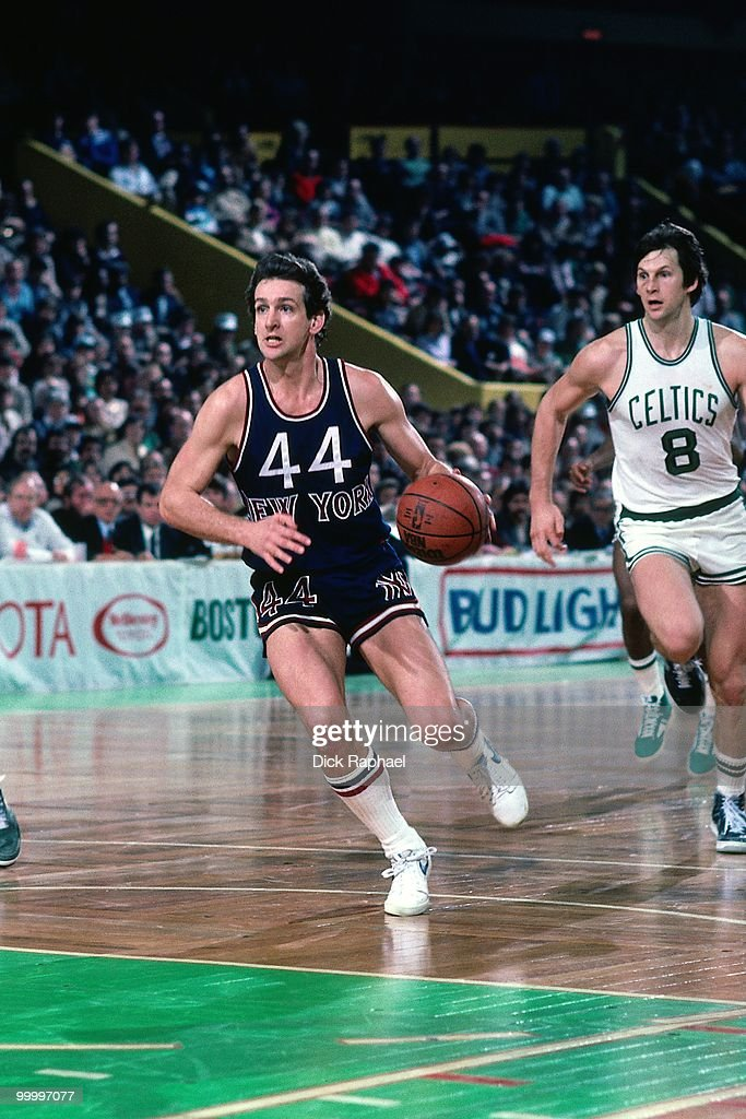 Paul Westphal #44 of the New York Knicks drives the ball up court during a game played in 1983 at the Boston Garden in Boston, Massachusetts.