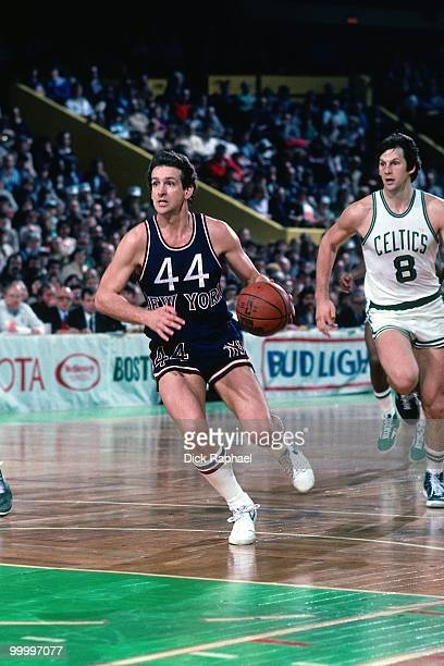 Paul Westphal of the New York Knicks drives the ball up court during a game played in 1983 at the Boston Garden in Boston Massachusetts NOTE TO USER...