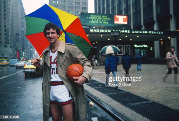 Paul Westphal of the New York Knicks in uniform poses for this photograph circa 1981 in front of Madison Square Garden in the Manhattan borough of...